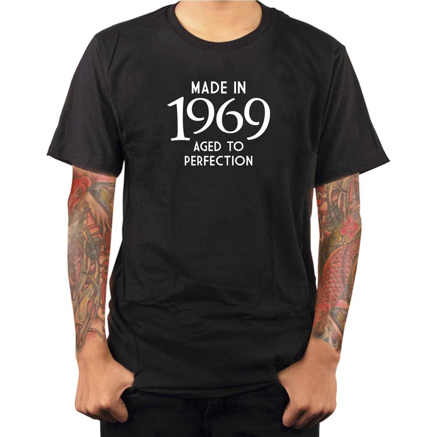 50th Birthday Present Gift Year 1969 Aged To Perfection Funny T-Shirt Unisex Old