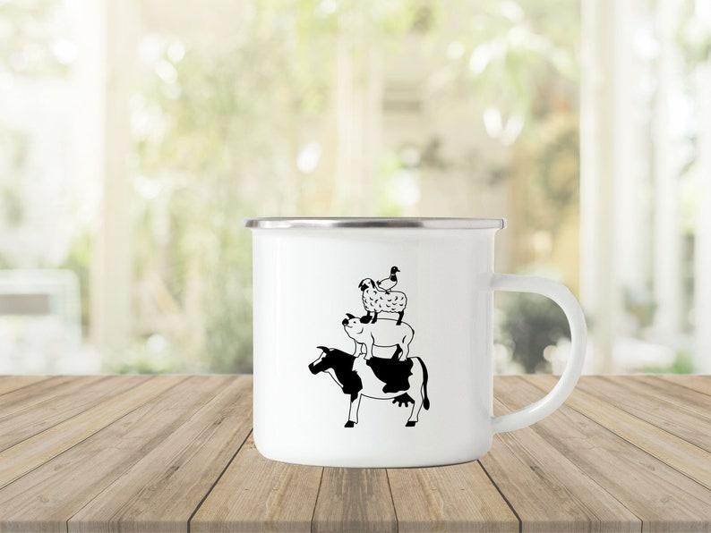 Enamel vintage mug farm design mug camping mug enamel mug image 0