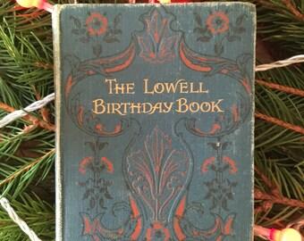 James Russell Lowell - Lowell Birthday book - Edwardian birthday book - vintage diary - vintage american poet - fireside poet