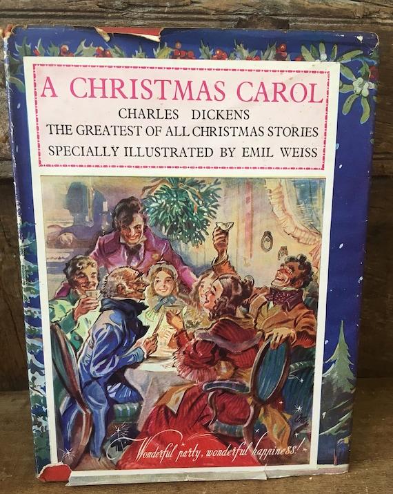 The Christmas Carol Book.1940s A Christmas Carol Scrooge Charles Dickens Vintage Christmas Carol Forties Dickens Christmas Book