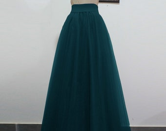 bc04a2230e Tulle Skirt Dark Teal Tutu for Women Bridesmaids Floor Length Bottoms Plus  Size Evening Skirt Long Prom Outfit