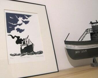 "Linocut ""Gale"", Linoprint, Block print, Illustration, Ship in the sea"