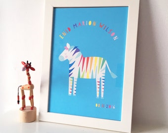 Personalised bespoke Rainbow Zebra kids art print