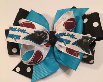 Carolina Panther Hair Bow Panther Bow Carolina Panther Bow Panther Football Bow Silver and Turquoise Panther Bow