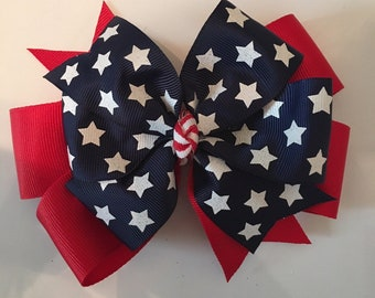 summer hair bow USA bow fun Patriotic donut bow 4th of July bow hair clips nylon headband classic bow style red white and blue bow