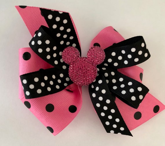 Disney Stacked Boutique Hair Bow Minnie Mouse Red Black Dots Girl Mickey Mouse