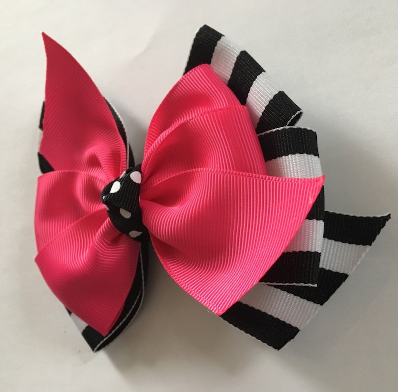 Pink and Black Hair Bow Dark Pink and Black and White Stripe Bow Black Stripe Bow Pink Black Stripe Hair Bow Pink and Black Bow Preppy Bow