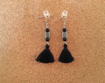Chinese Knot Onyx Tassel Earrings