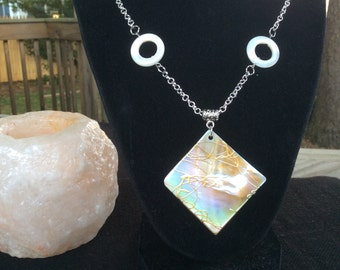 Pretty Shell and Silver Chain Necklace with Painted Shell Pendant.