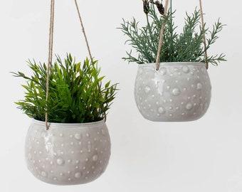 NEW- Enamel Hanging Planter // Blumen&el // Plant Pot Holder // Boho Decor // Grey & Hanging planter | Etsy
