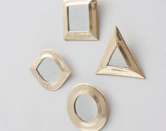 Geometric Wall Mirror Set || Gift || Set of 4 || Brass || Moroccan Mirrors || Tiny