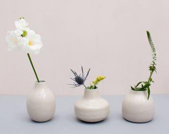 Enamel Bud Vase Trio - Cream