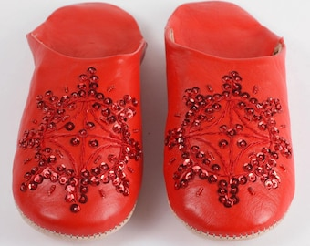 Women's Leather Slippers    Traditional Moroccan Sequin Babouche    Hand Dyed With Natural Colour    Red