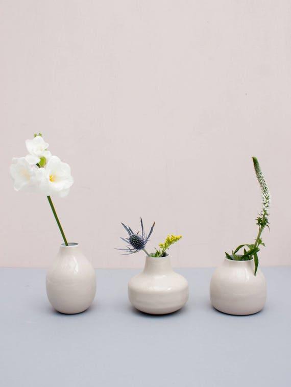 Enamel Bud Vase Trio Cream Etsy