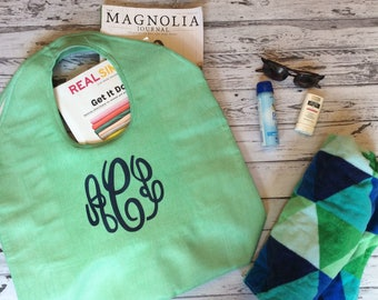 Monogram tote bag, personalized tote bag, summer tote bag