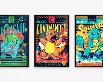 Starter Pokemon Poster Set, Bulbasaur, Charmander, Squirtle, Video Game Art Posters