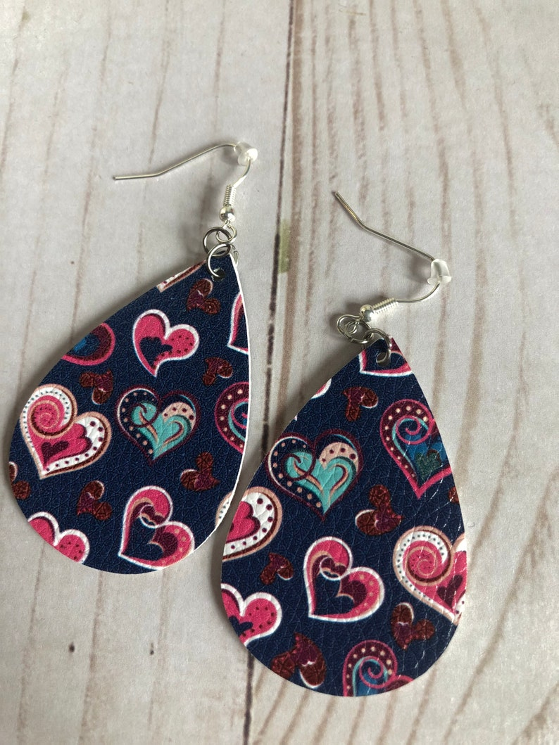 Navy Blue with Hearts Faux Leather Valentines Earrings