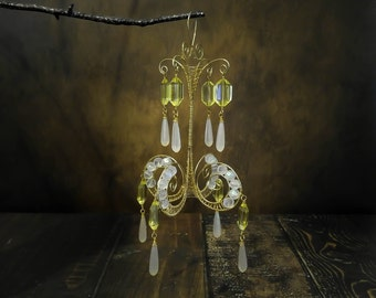 Yellow Gold and White Mini Chandelier, Large Wire Wrapped Christmas Ornament