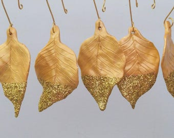 Gold Leaves Ornaments Dipped in Gold Glitter, Set of 5