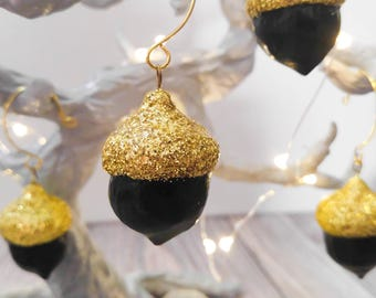 Gold and Black Acorn Glitter Ornaments, set of 5