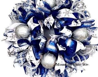 winter wreath blue winter wreath holiday wreath christmas wreath winter decor blue silver wreath front door wreath blue mesh wreath - Blue Christmas Wreath