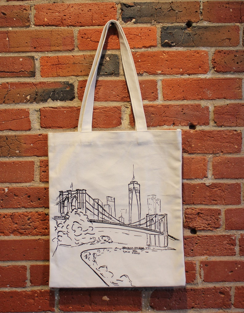 Brooklyn Bridge Art Canvas Tote Bag With Pocket Manhattan