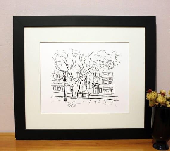 Sloane Square Sketch Art Print London UK City