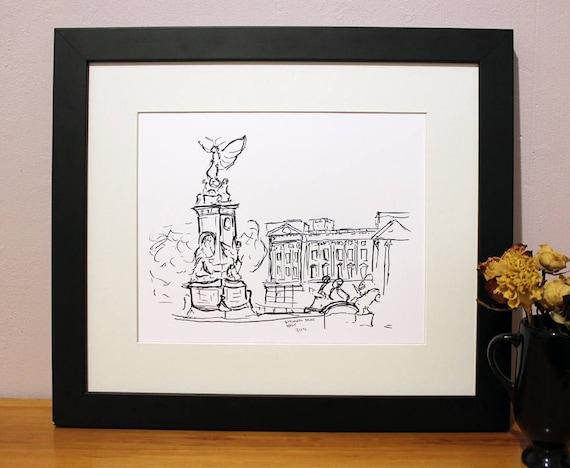 Buckingham Palace Sketch Art Print London UK City
