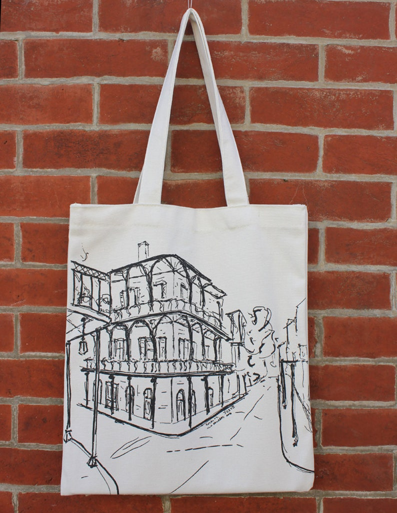 City Architecture Skyline Tote New Orleans Art Canvas Tote Bag with Pocket French Quarter NOLA Tote