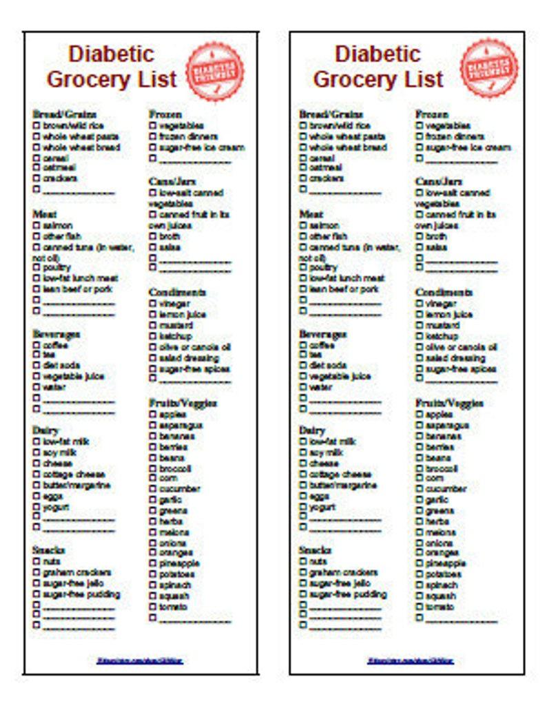 Diabetic Food Diet Grocery List 2 In 1 Printable Instant