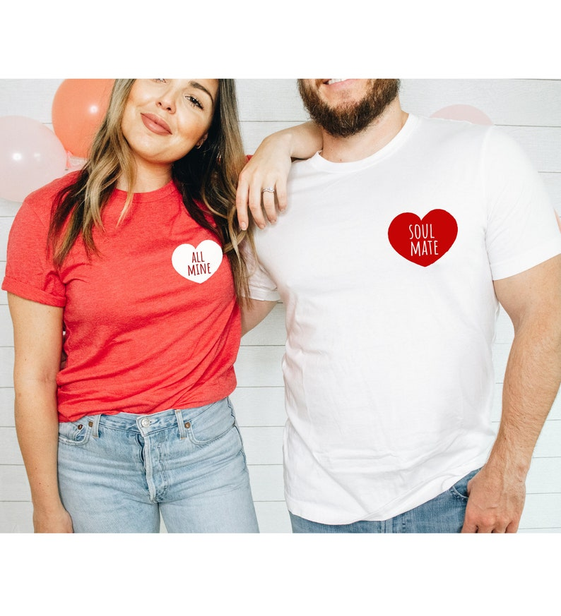 Day Gift ForHer Love Heart Shirt Couples Valentine/'s Day All Mine Shirt Soul Mate Gift Fun Couple Matching Shirts Valentines Gift For Him V