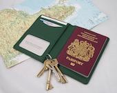 Green Leather Passport Holder, Green Passport Cover, Green Leather Travel Wallet, Green Fair Trade Passport Holder, Green Leather Passport