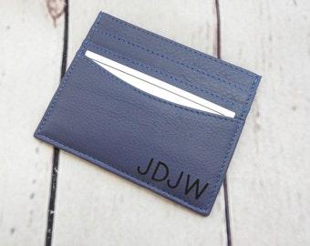 Personalised Leather Card Holder, Custom Leather Card Case, Leather Card Case Sale, Groomsmen Card Case, Monogrammed Card Case