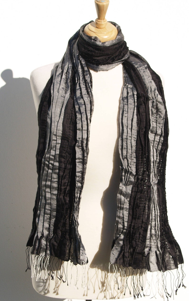 89bab3d8915 Ladies Scarf Sale, Fair Trade Black and Silver Silk Scarf, Black Silk  Scarf, Silver Silk Scarf, Black Evening Stole, Silk Scarf Gift