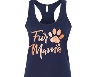 Fur Mama Dog Paw Print Navy with orange tank  Dog MOM