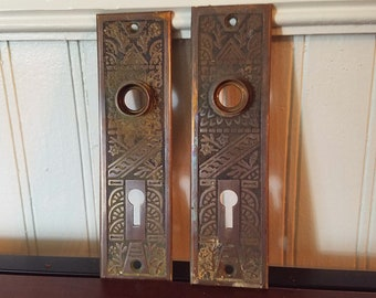 2 Antique Door Plates Door Knob Plates Eastlake Backplates Eastlake Back Plates Door Backplates Ceylon Pattern Brass Door Plates & Door plates | Etsy