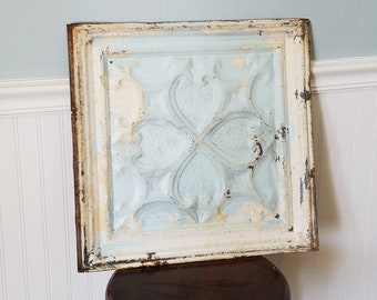 """Heart Shape 18"""" Tin Ceiling, Ceiling Tile Square Antique Tin Tile Quatrefoil Pattern Metal Ceiling Vintage Ceiling Tile Vintage Tin Tile"""