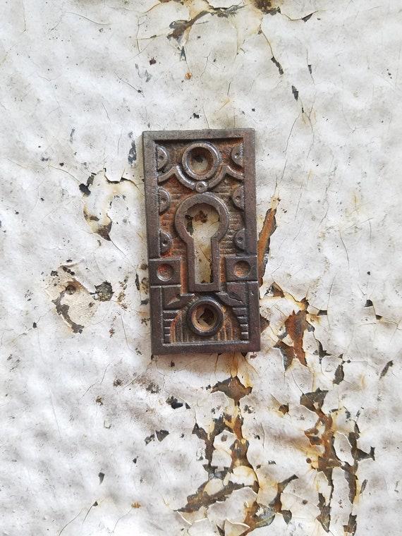 Antique Ornate Cast Iron Keyhole  Escutcheon Trim Plates