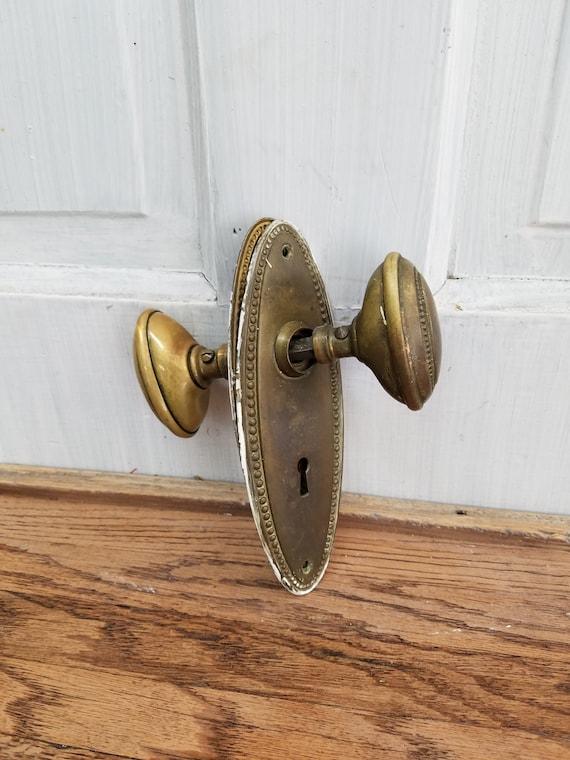 Oval Door Knobs Oval Doorknobs Oval Knobs U0026 Plates Beaded | Etsy