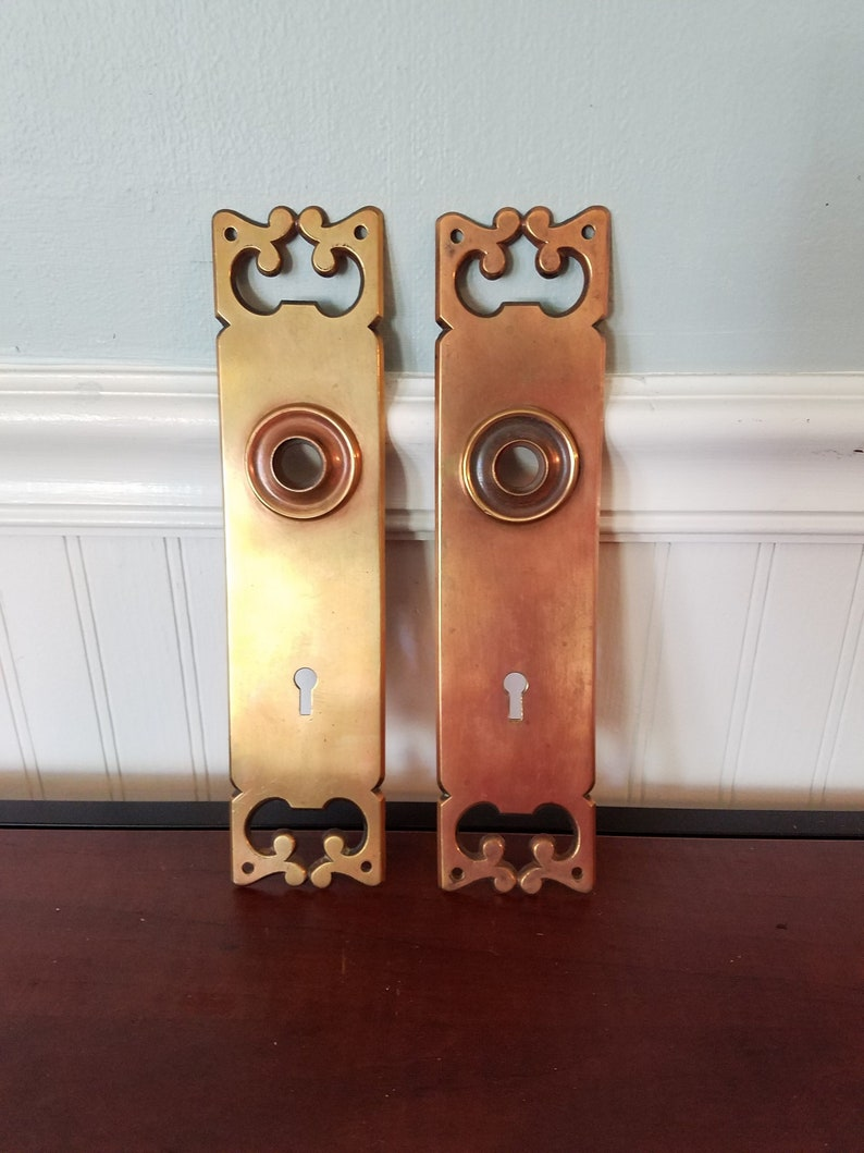 Pair of Walnut Wooden Door Knobs With Brass Backplates