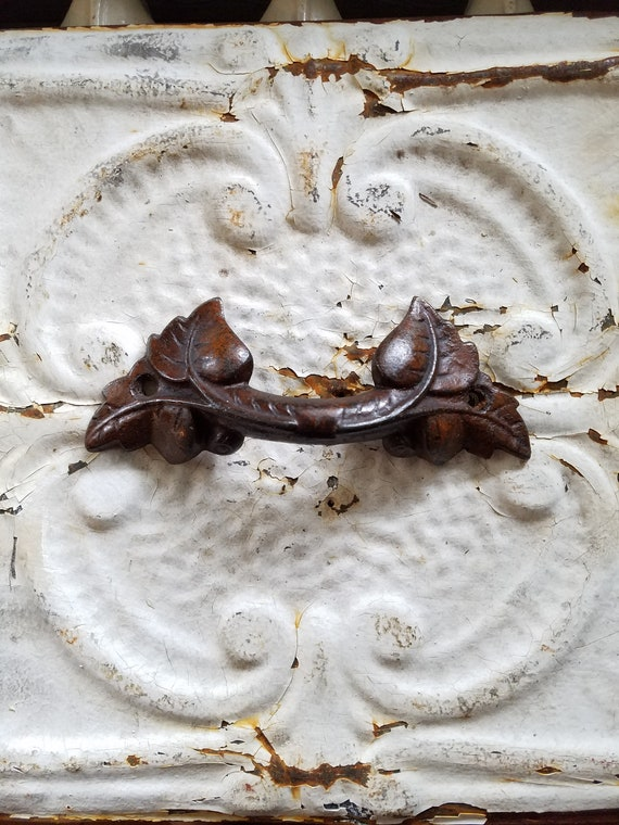 Antique American Victorian Eastlake Carved Leaves Wood Drawer Pulls 3 available