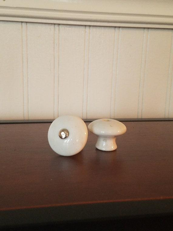 Vintage White Knob White Cabinet Knob Old Ceramic Knob   Etsy