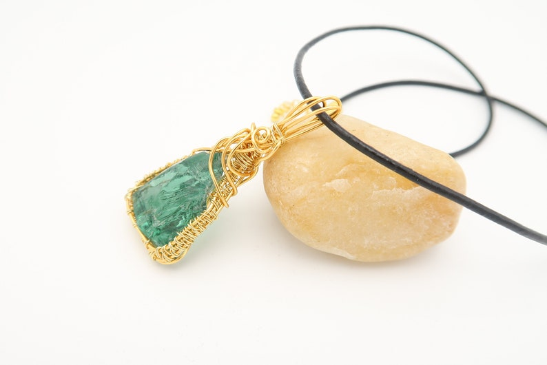 Necklace,green pendant,see glass of Brittany,golden wire wrapped,black cord,hand-made,gift for her,birthday,christmas.