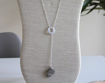 Sterling Silver Pebble Lariat Necklace, Layered Necklace, Lariat & Y Necklace, Pebble Necklace, Sterling Silver Necklace, Long Necklace