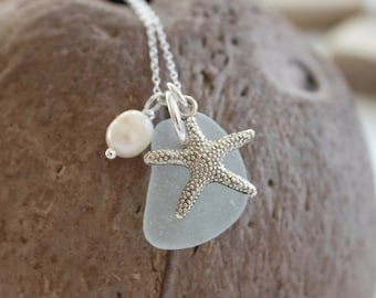 Starfish Cluster Necklace, Starfish Necklace, Starfish Charm, Sea Glass Necklace, Sea Glass Jewellery,  Recycled Jewellery, Sea Glass
