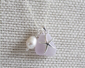 Sterling Silver Starfish Necklace, Starfish Necklace, Starfish Jewellery, Recycled Jewellery, Sea Glass Necklace, Sea Glass Jewellery, Glass