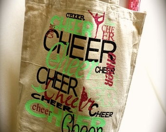 Cheer Bag CHOOSE your colors~CHEER Canvas Tote Bag Cheer Gift Coach Gift