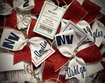 CHEER Bow Keychain ANYText/Color Cheer Gift Mini Bow Keychain Squad Discounts ASK me to design something specific for you today!!!