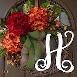 Fall Wreath- Fall Decor - Fall Decorations - Fall Door Hanger - Front Door Wreaths - Monogram Wreath - Wreath with Initial