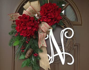 Christmas Wreath For Front Door Monogram Wreath For The Door Initial Door Decor Monogram Christmas Wreath Initial Front Door Wreath